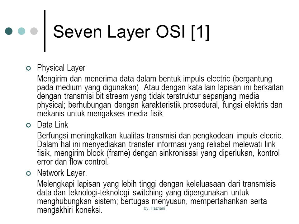 Seven Layer OSI [1] Physical Layer